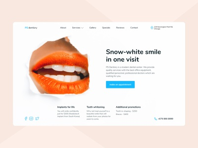 First screen for dentisry smile snowwhite dentistry first screen ui design figma