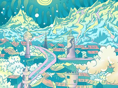 City towers green illustration