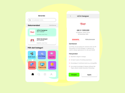 UI Mobile App Find Jobs uidesign ui fing jobs fing jobs design app