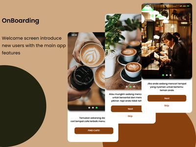 UI/UX Design - OnBoarding Find Cafe Mobile Apps cafe e commerce login website mobile apps uiux onboarding ui find cafe portofolio onboarding