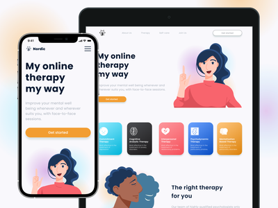 Landing page for online therapy landing psykhology landing