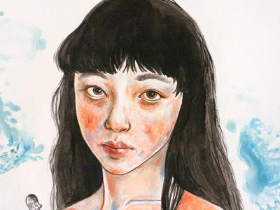 chiaki illustration gouache coloured pencil