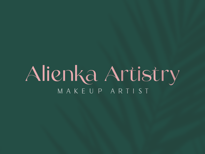 Alienka Artistry - Makeup Artist Logo and Branding beautiful branding green and pink makeup beauty logo beautybranding beauty makeupartist makeupbranding makeuplogo graphic design