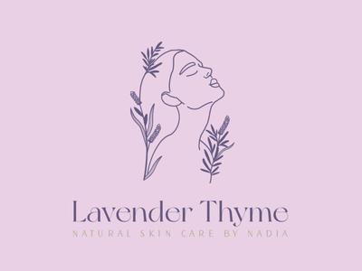 Lavender Thyme Natural Skincare Logo & Branding natural logo purple and green purple branding lavender branding line art design skincare design natural beauty logo skincare logo skincare branding natural branding