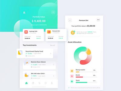 Rebound Investment app gradient ux ui design