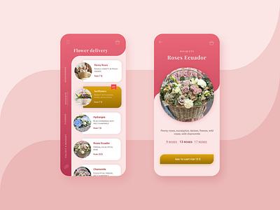 Flower delivery app app minimal gradient ux ui design