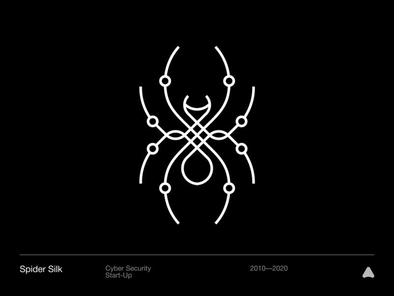 Spider Silk simbol design abstract vector icon branding black mark logo silk spider