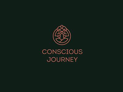 Conscious Journey logotype logomark travel yoga green logo