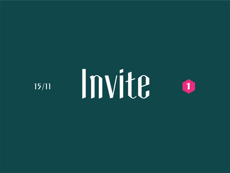 +1 invite dribbble brand logo green tipography abstract invite invation