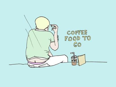 Coffee + Food To Go coffee brooklyn butt crack illustration