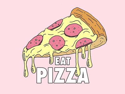 EAT PIZZA pepperoni cheese illustration food eatpizza pizza