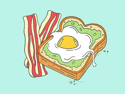Bacon, Eggs & Avocado illustration food brunch bacon eggs avocado