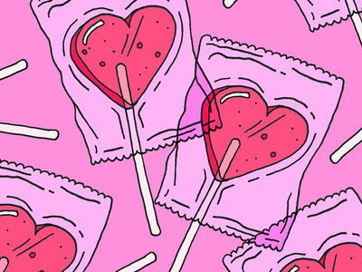Candy Hearts sugar love bug love drawing hard candy sweet sweets heart lollipop lollies candy valentines day valentine art illustration