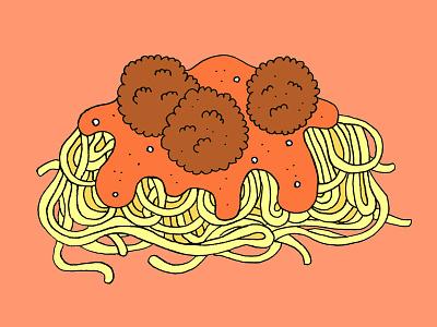 Spaghetti tomato sauce sauce meatballs spaghetti pasta art food illustration