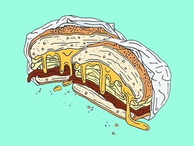 Bacon, Egg & Cheese deli art food illustration egg sandwich breakfast sandwich breakfast cheese bacon