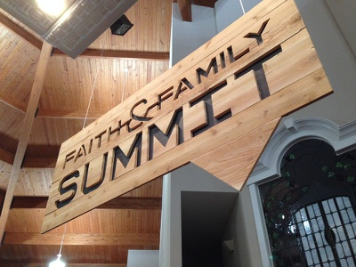 Custom wood sign cedar wood sign summit church jigsaw lost fingers conference