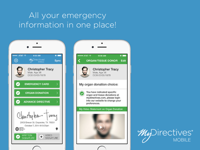 MyDirectives iOS App chris says mobile with a long i ios app health flat ui healthkit we made an app iphone mobile organ donation dont look at our website