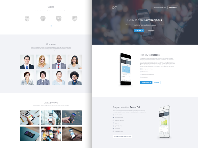 Holy Wood Multipurpose Landing Page Template By Lumberjacks Dribbble - Simple landing page html template