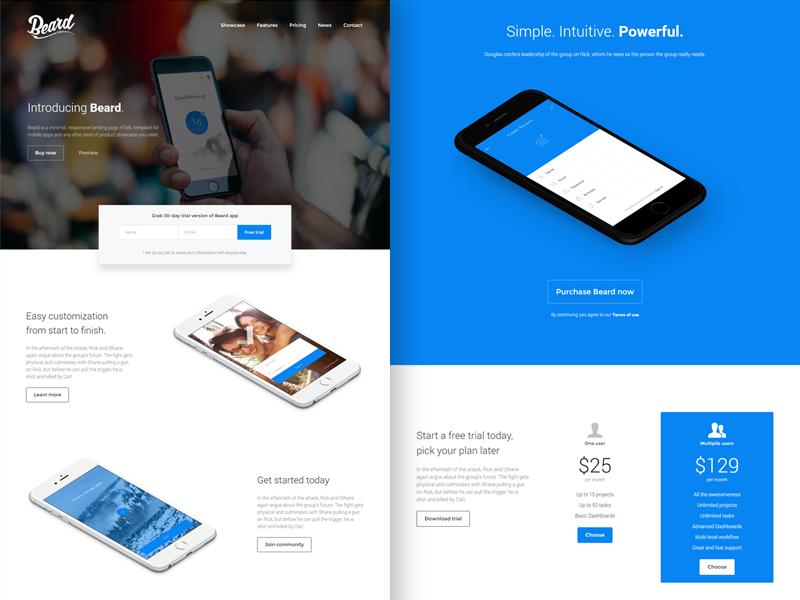 Beard - App Landing Page HTML Template by Lumberjacks - Dribbble
