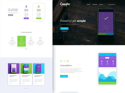 Campfire - Responsive Landing Page Template app mobile landing page html template theme responsive parallax css jquery startup web