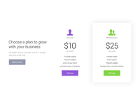 Pricing table / Campfire - Responsive Landing Page Template