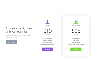 Pricing table / Campfire - Responsive Landing Page Template app mobile landing page html template theme responsive pricing table jquery startup web
