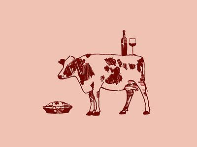 Cow Illustration brand identity logo branding california pen farm illustration yogurt pie wine cow