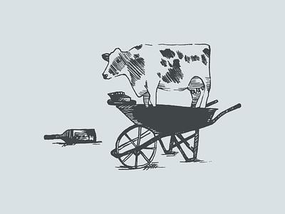 Cow Illustration brand identity logo branding california pen farm illustration yogurt wheel barrow pie wine cow