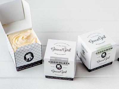 Green Girl Bakeshop Ice Cream Packaging Design gluten free vegan vintage label wrapper box pint identity logo branding packaging design ice cream