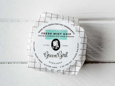 Green Girl Bakeshop Ice Cream Sandwich Packaging Design gluten free vegan vintage label wrapper box pint identity logo branding packaging design ice cream sandwich