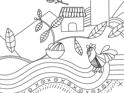 Pollo 1 - snippet food startup el salvador design womb farm plants chicken line art ethnic food food truck black  white illustration