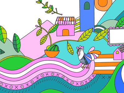 Pollo 2 - snippet food truck restaurant food startup el salvador design womb farm chicken line art ethnic food colorful illustration