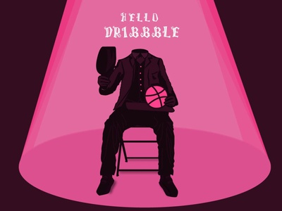 Hello Dribbble helloween ball invite flat illustraion debut shot hello dribble debut