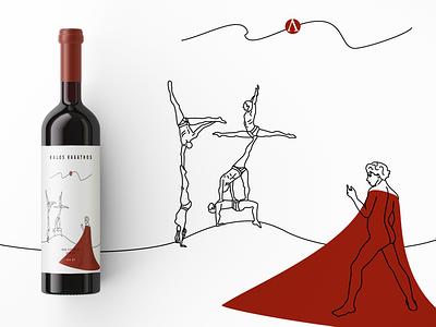 Wine Label Design sparta spartans wine wine bottle wine label design illustration brand design flat branding graficdesign