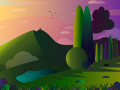 Idyl landscape gradient graphic design flat illustration