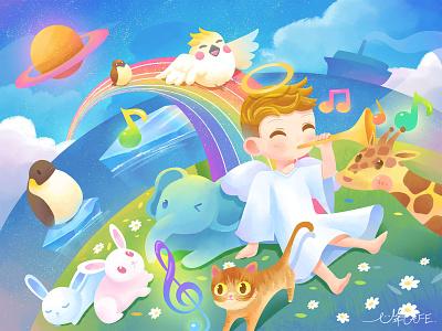 illustration : Gathering under the rainbow illustration
