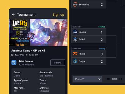 Emasters - Tournament Mobile esports app user experience user interface designsprint ui design product design framer ux design prototype