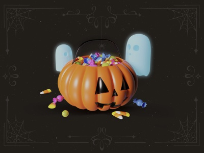 Spooky halloween pumpkin with candies dribbbleweeklywarmup dribbble pumpkin render spooky halloween ghosts candy 3d art 3d blender illustration