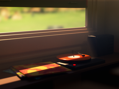 Phonograph warm room vintage retro dribbble colorful render illustration blender 3d art 3d