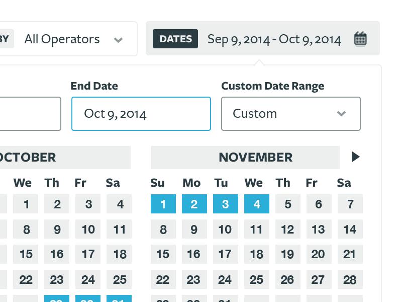 Date Filter UI by Kyle Lambert on Dribbble