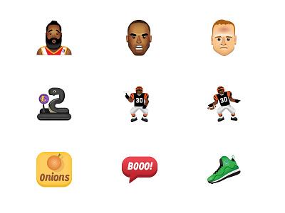 Sport Themed Emojis ickey shuffle icon illustration emoji sneaker kobe bryant peyton manning football basketball sports