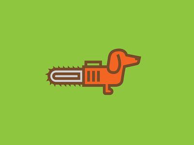 Chainsaw the dog Logo illustration logo dachshund wiener dog chainsaw