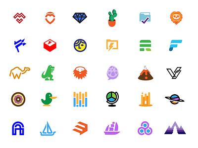 Lots of logos illustrator box person diamond illustrations icons logos