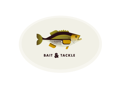 Bait & Tackle gills text typography illustration logo tackle fish bass