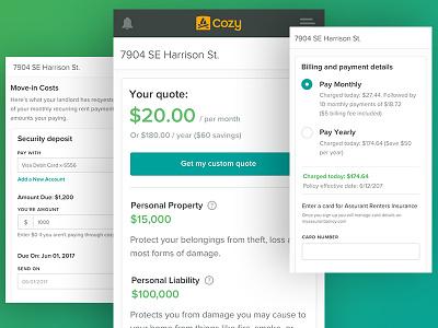 Renters Insurance form insurance app ux ui website web design