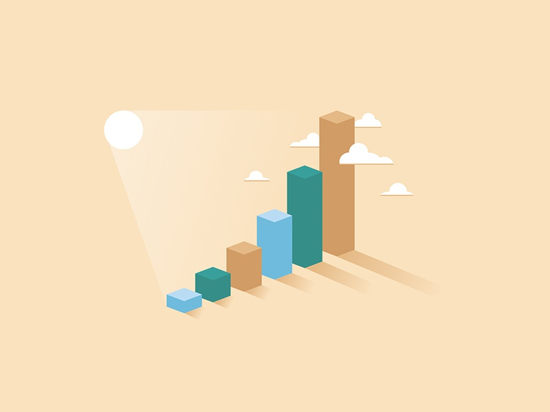 Growth Illustation bar chart clouds charts growth illustration
