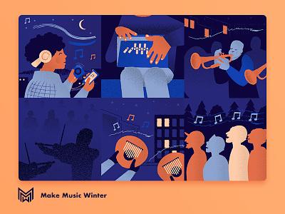 Make Music Winter festival singer new york headphones trumpet sing music illustration