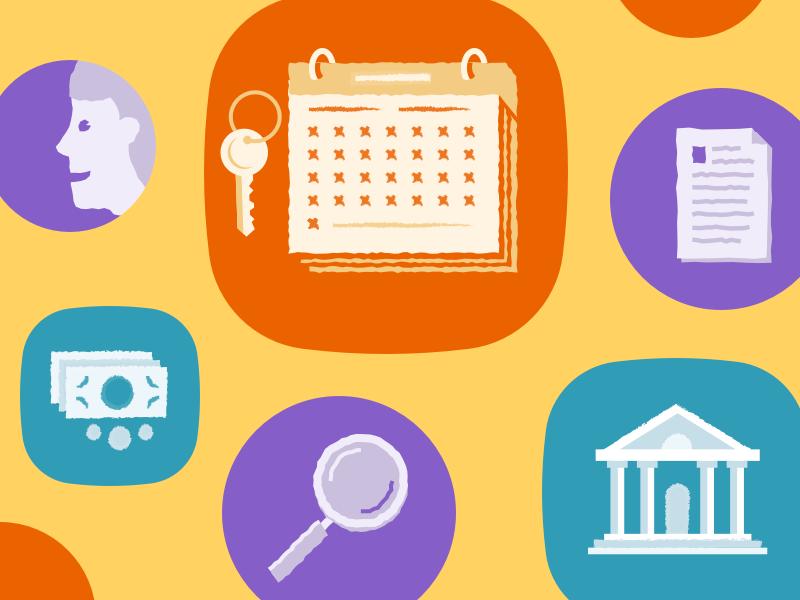 Illustrations drawings icons woman magnifying glass bank money keys calendar illustrations