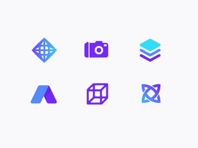 Logos camera stack x cube a icons illustrations logos