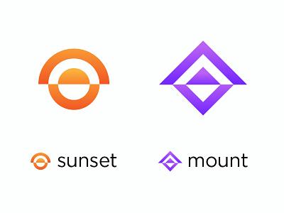 Logo Exploration sunset draw typography icon illustrations logos